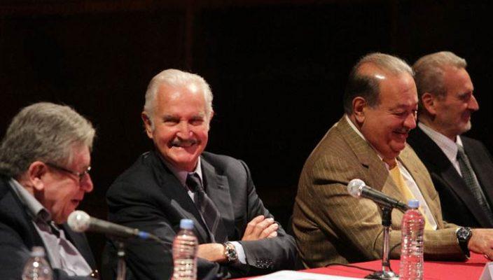 José Emilio Pacheco, Carlos Fuentes, Carlos Slim y Vicente Rojo
