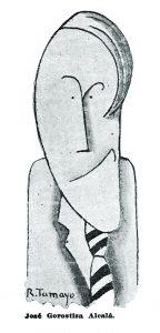 Retrato del poeta José Gorotstiza, en caricatura del muralista Rufino Tamayo.